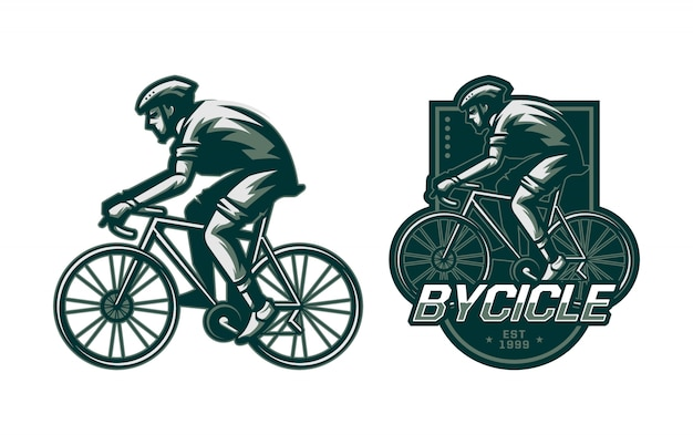 Set of man riding bycicle badge Premium Vector