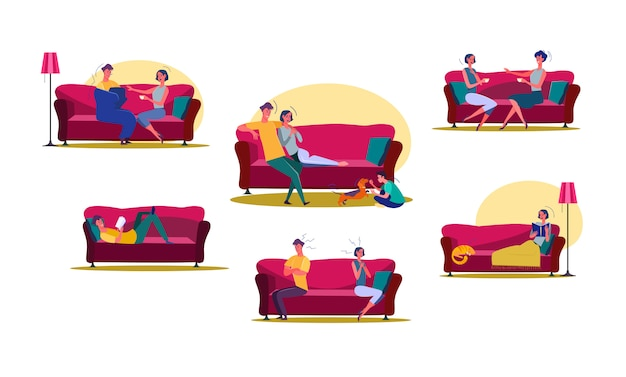 Set of man and woman spending time at home Free Vector