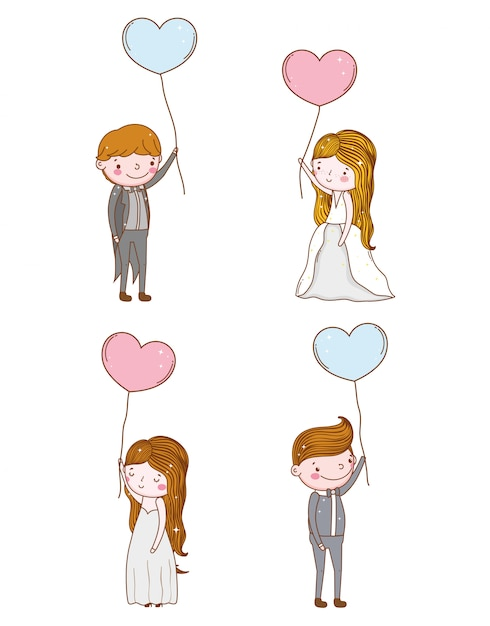 Set man and woman with hearts balloons Premium Vector