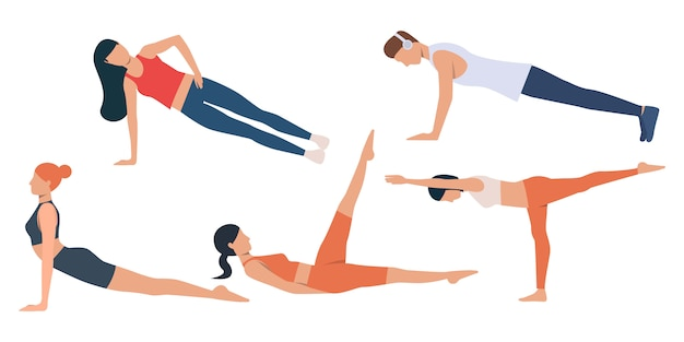 Set of man and women exercising Free Vector