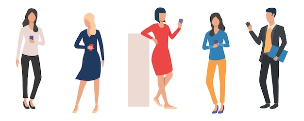 Set of man and women holding smartphones Free Vector