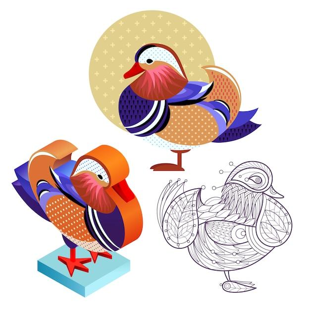 Set mandarin duck image in different styles. Premium Vector