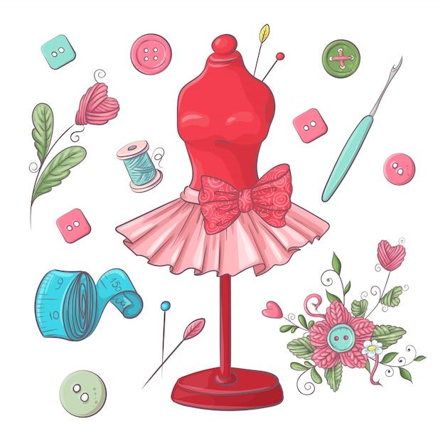 Set of mannequin sewing accessories. Premium Vector