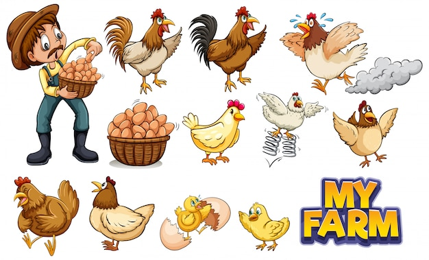 Set of many chickens and farmer Free Vector