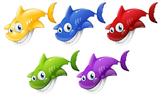 Set of many smiling cute shark cartoon character isolated on white background Free Vector