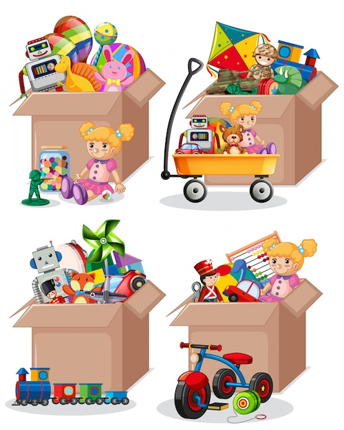 Set of many toys in cardboard boxes on white Premium Vector