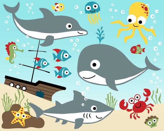 Set of marine animals cartoon Premium Vector