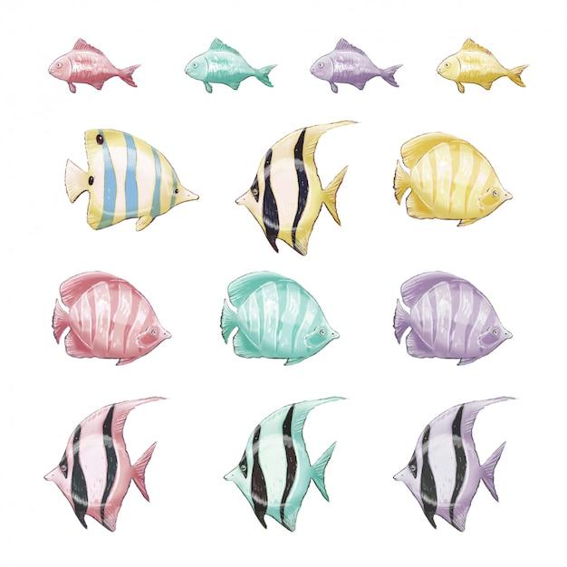 Premium Vector Set Of Marine Clipart Marine Multicolored Fish