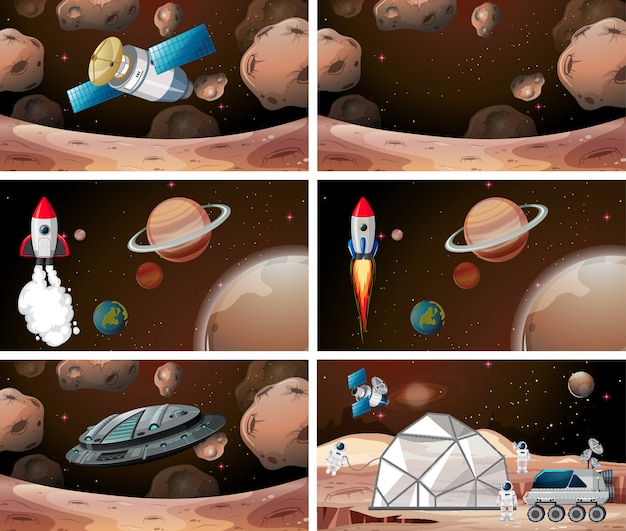 Set of mars scenes background set Free Vector