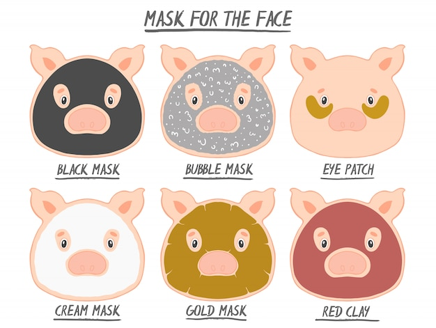 Set mask face beauty animal pig girl and women. skin spa procedure, cosmetic clean. Premium Vector