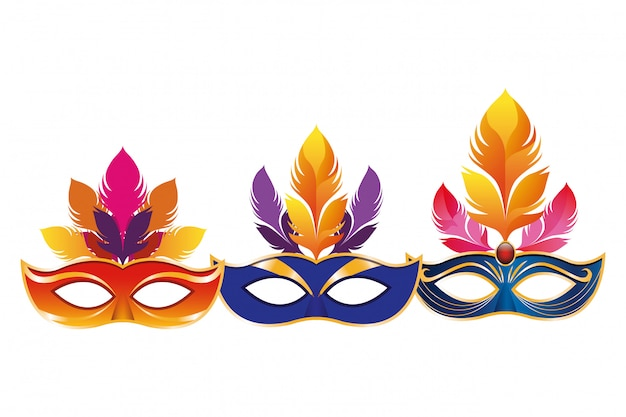 Set of masks with feathers Premium Vector