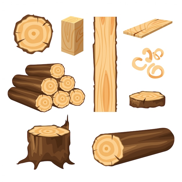 Set of materials for wood industry. tree trunk, planks isolated on white . wood logs for forestry. Premium Vector