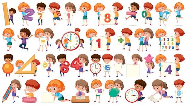 Set of math children Premium Vector