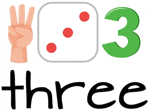 Set of math counting number three Premium Vector