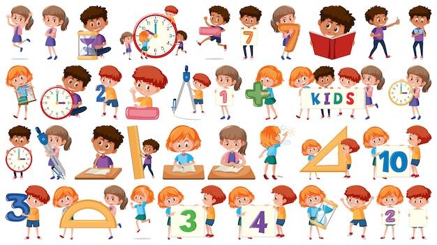 Set of math kids Premium Vector