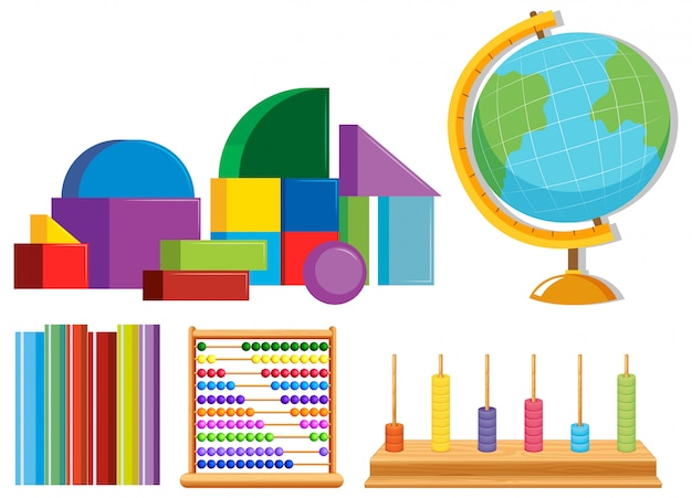 Set of math toys Free Vector