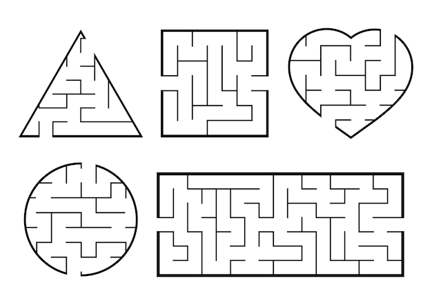 A set of mazes. Premium Vector