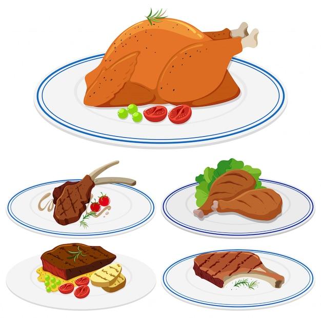 Set of meat food on plate Premium Vector