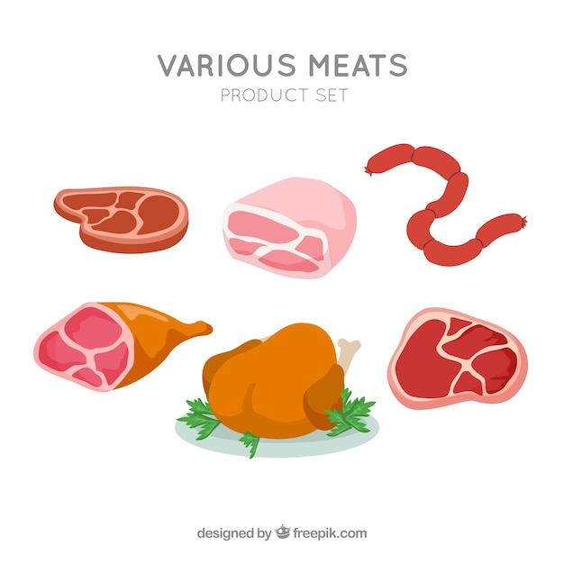 Set of meat products Premium Vector