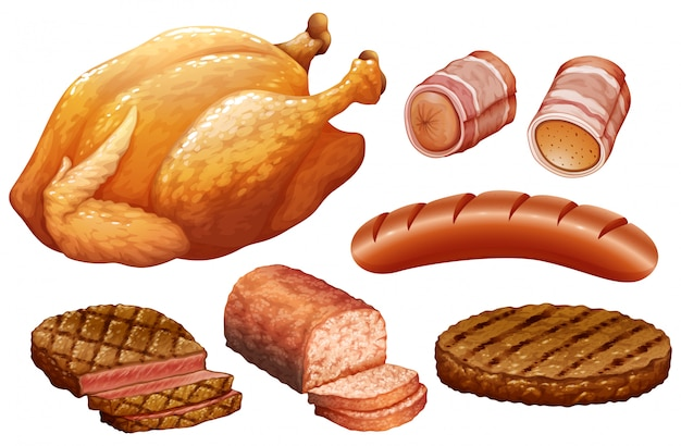 Set of meat on white background Free Vector
