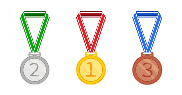 Set of medals in a flat style. silver, gold and bronze medal icon.  illustration isolated on white background. Premium Vector