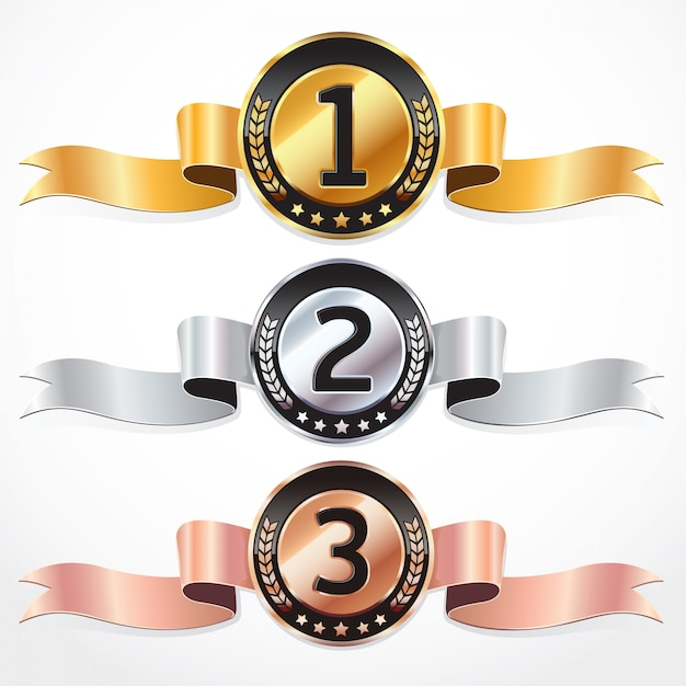 Set of medals with ribbon. vector illustration. Premium Vector