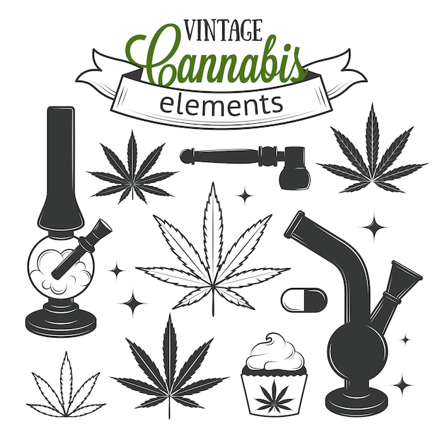 Set of medical cannabis elements Premium Vector