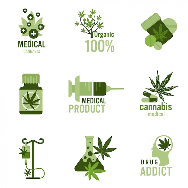 Set medical cannabis or marijuana natural product ganja legalization hemp leaf drug consumption concept Premium Vector