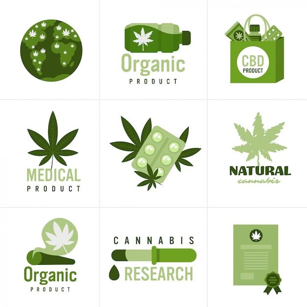 医療大麻やマリファナの天然物大麻合法化麻の葉の薬物消費の概念を設定します。 Premiumベクター