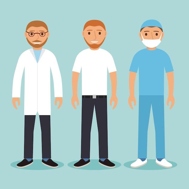 Set of medical characters doctors. Premium Vector