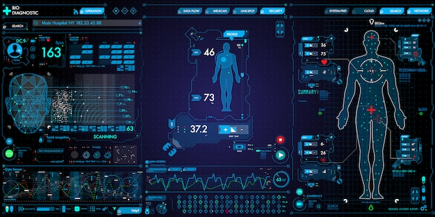 Set of medical technology user interface computer and icons on dark background. Premium Vector