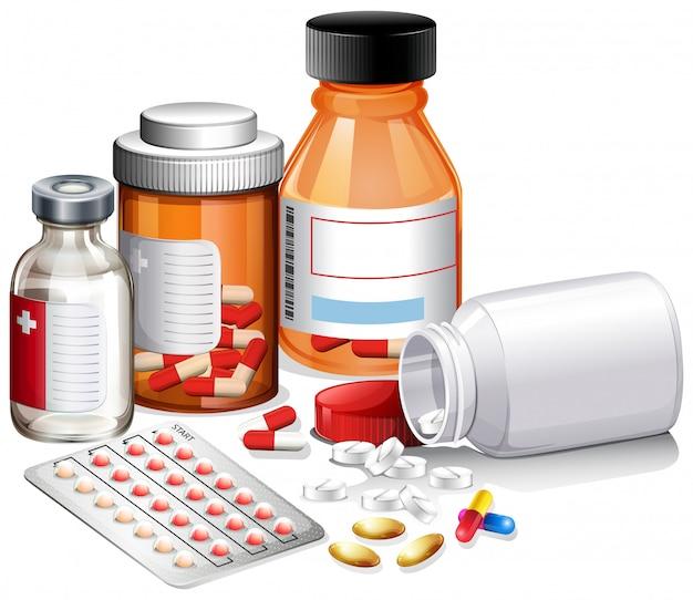 A set of medicine and prescription Premium Vector