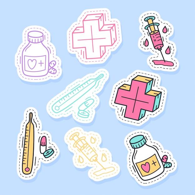 Set of medicine stickers handwritten collection in cartoon style. Premium Vector
