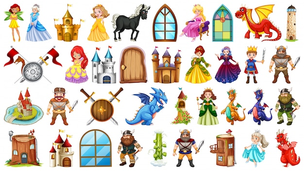Set of medieval character Free Vector