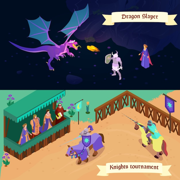 Set of medieval isometric horizontal banners battle with dragon and tournament of knights isolated Free Vector