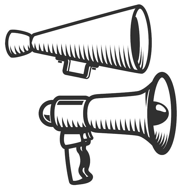 Set of megaphones icons  on white background.  element for logo, label, emblem, sign.  illustration. Premium Vector