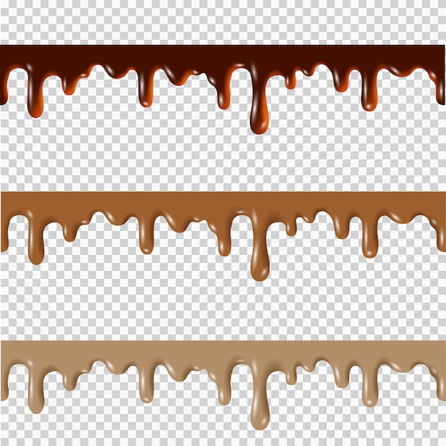 Set of melted chocolate,peanut butter,caramel seamless borders Premium Vector