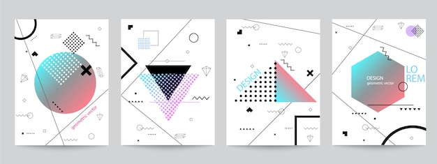 Set of memphis background set design with geometric forms Premium Vector