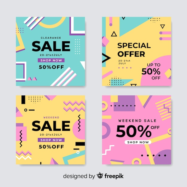 Set of memphis sale banners Free Vector