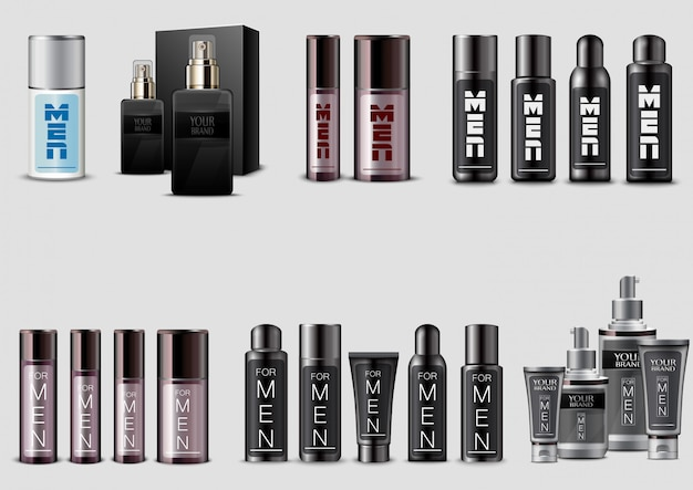 Set of men cosmetic packaging on white background Premium Vector