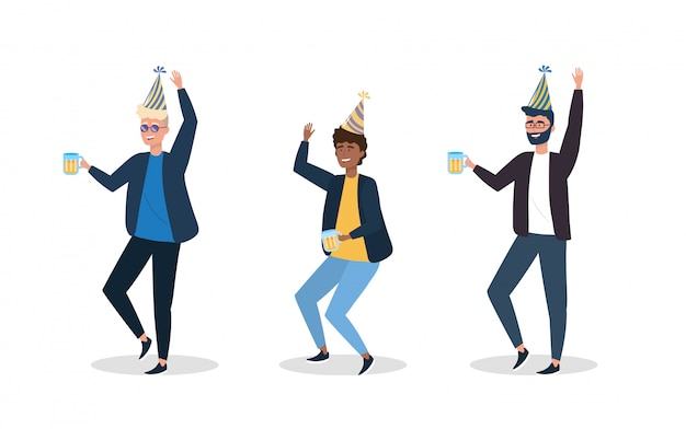 Set of men dancing with party hat decoration Free Vector