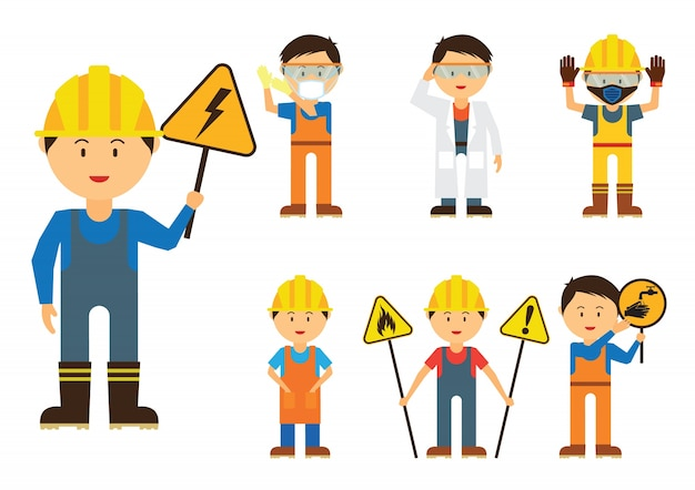 Set of men showing to use protection in the industry area for safety Premium Vector
