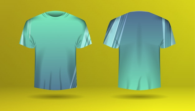Set of men t-shirt with colorized template Premium Vector