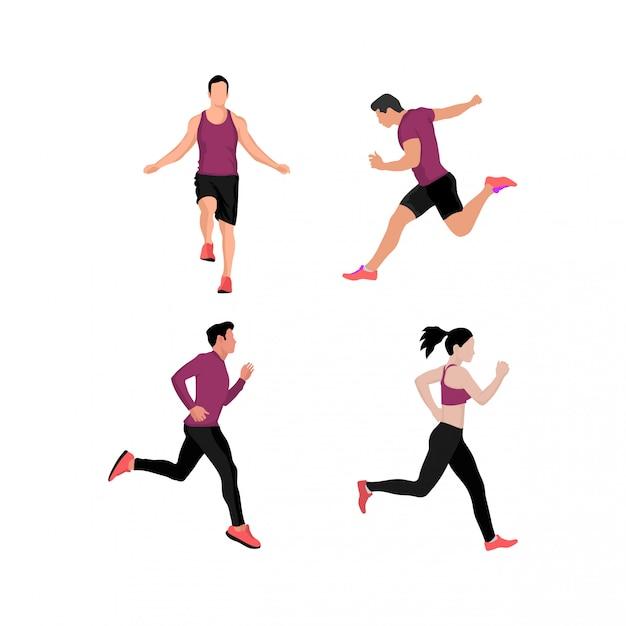 Set of men and women doing sport Premium Vector
