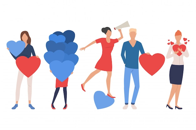 Set of men and women in love. people using loudspeaker Free Vector