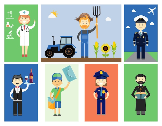 Set of men and women professional characters with colorful vector icons of a doctor or nurse  farmer with a tractor and sunflowers  pilot  waiter or wine steward  postman  policewoman and priest Free Vector