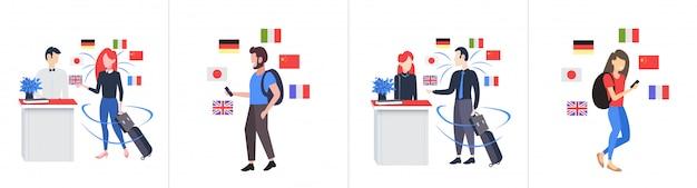 Набор мужчины женщины турист с помощью смартфона мобильный словарь или переводчик общение люди связь концепция разные языки флаги полная длина горизонтальный Premium векторы