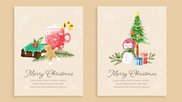 Set of merry christmas card template Premium Vector