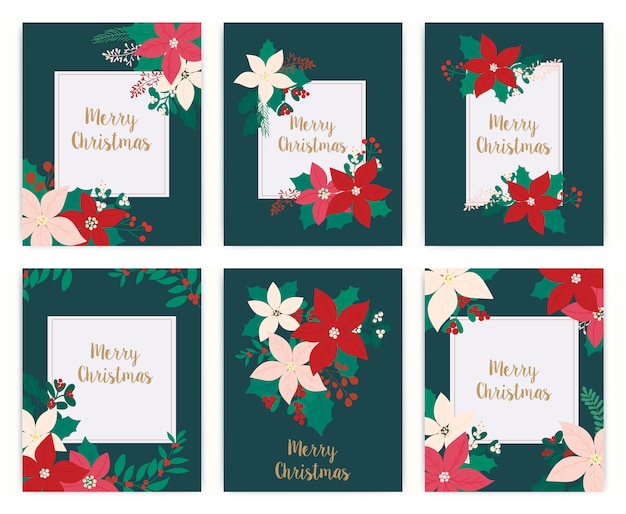 Set of merry christmas greeting card. flower, floral. Premium Vector