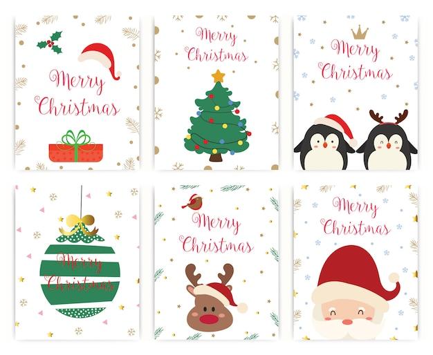 Set of merry christmas greeting card Premium Vector